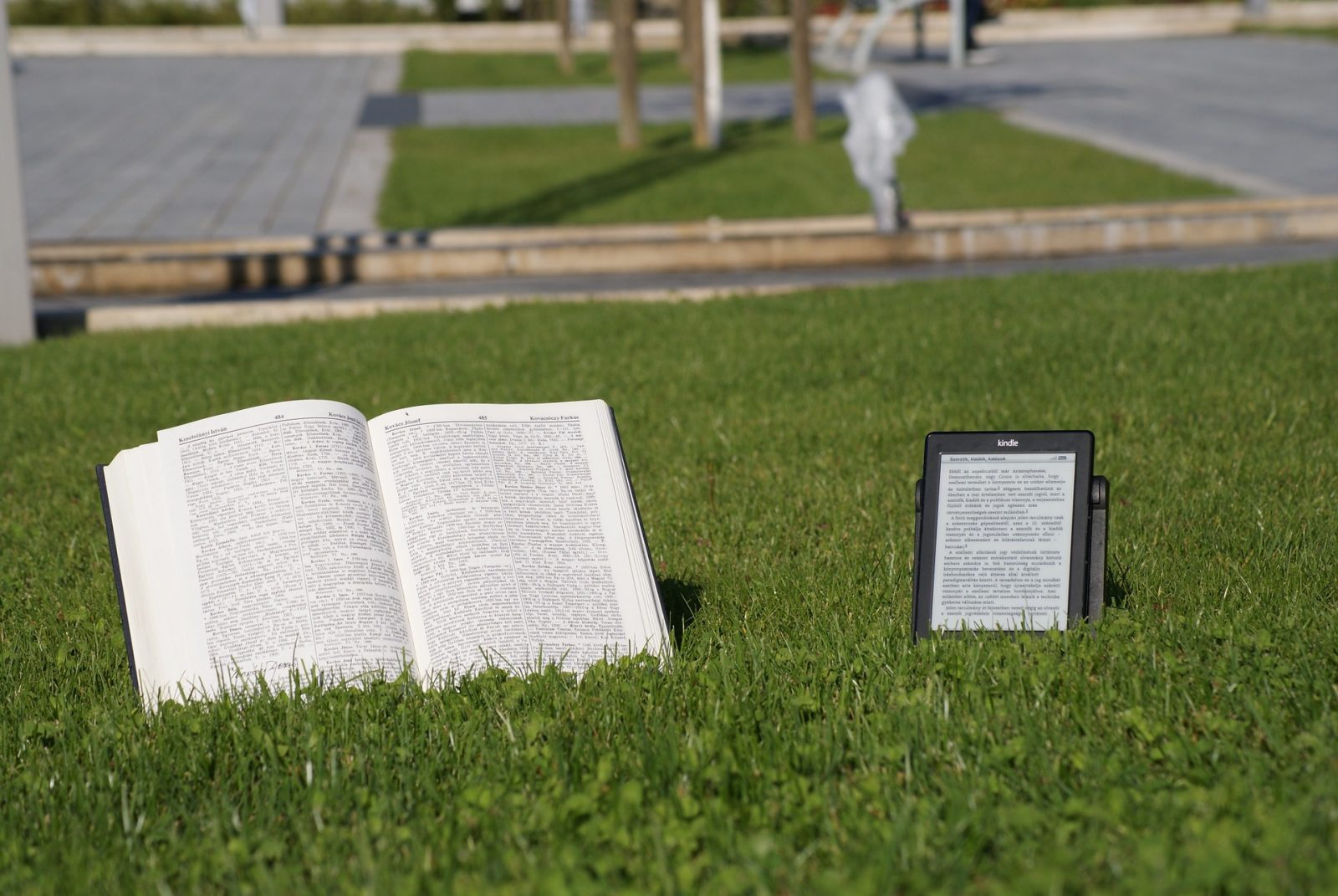 E-book and paper book on a grass